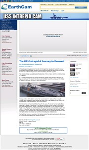 アメリカ合衆国 ニューヨーク州のライブカメラ:ハドソンリバーにあるイントレピッド博物館とその周辺の様子