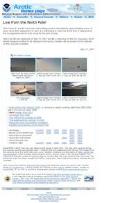 北極のライブカメラ:アメリカ国立海洋大気庁(NOAA)の付属機関「米国太平洋海洋環境研究所」による北極点の今の様子