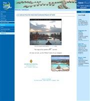 タヒチのライブカメラ:ホテル「Inter Continental Beachcomber Resort」から見たプールサイドとモーレア島のある景色
