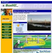 アメリカ合衆国 メーン州のライブカメラ:メーン州交通省による工事中の吊橋,ワルド・ハンコック橋の今の様子